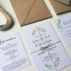 Greenery Wedding Invitation set. Simple and elegant wedding