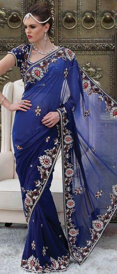 Royal #Blue Faux Georgette #Saree With Blouse @ $410.83 | Shop Now @ http://www.utsavfashion.com/store/sarees-large.aspx?icode=sds2133