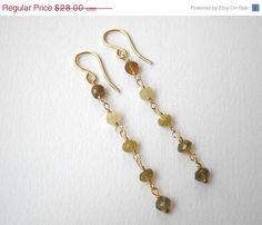 Green Garnet Earrings  Gold Filled Beaded by VeronicaRussekJoyas, $22.40