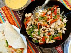 The Briny Lemon: Grilled Chicken Fajitas with Jalapeno Cheese Sauce