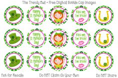 St Patrick's Day <3 Retired images uploaded as freebies! Enjoy! ~ FREE Digital Bottle Cap Images!! https://www.facebook.com/thetrendyowlUS http://www.thetrendyowl.com