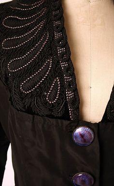 Evening jacket Elsa Schiaparelli (Italian, Design House: House of Schiaparelli (French, Date: Culture: French Medium: silk, metallic thread, glass. Elsa Schiaparelli, 1940s Fashion, High Fashion, Vintage Fashion, Couture Details, Fashion Details, Italian Fashion Designers, Vintage Dresses, Vintage Outfits