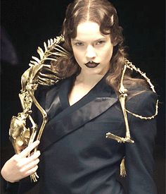 skeleton by Alexander McQueen.  Don't think he meant it as a comment on fur, BUT I DO.