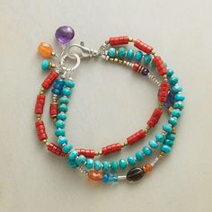 STRANDS OF JOY BRACELET- Coral and turquoise lead a jubilant collection of gems—apatite, smoky quartz, carnelian, amethyst, and iolite—sparked with brass and sterling silver. Unique Bracelets, Seed Bead Bracelets, Gemstone Bracelets, Jewelry Bracelets, Jewelery, Strand Bracelet, Boho Jewelry, Beaded Jewelry, Jewelry Design