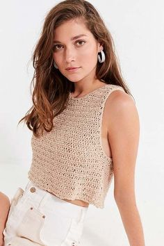 Urban Outfitters Eleni Yarn Sweater Tank Top Crochet is a throwback trend that still feels fresh. Shop the best crochet clothing for summer here. Crochet Summer Tops, Crochet Crop Top, Knitted Tank Top, White Crochet Top, Knit Tops, Crochet Tops, Knit Crochet, Crochet Top Outfit, Crochet Clothes