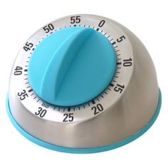 Stainless steel kitchen timer with a turquoise dial.   Product: Kitchen timerConstruction Material: Stainless s...
