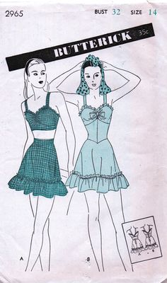 Butterick 2965; ca. 1944; Misses' One or Two-Piece Bathing Suit