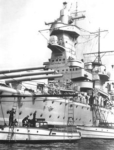 Detail view of the massive forward superstructure of the  German pocket battleship Admiral Graf Spee
