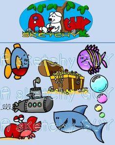 FREE-Ocean themed clipart mini set