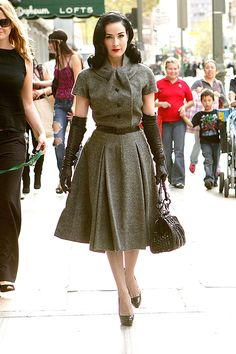 Dita Von Teese out in LA in a 1950′s era Christian Dior ensemble.