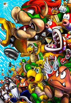 """As kids playing Super Mario Bros. Deluxe, me and my sister came up with this phrase """"Must Kill Mario!"""" to describe the mindless, u. Bowser's Army/Must Kill Mario! Super Mario Bros, Mundo Super Mario, Super Mario Games, Super Mario World, Super Mario Brothers, Super Smash Bros, Ps Wallpaper, Video Game Art, Video Games"""