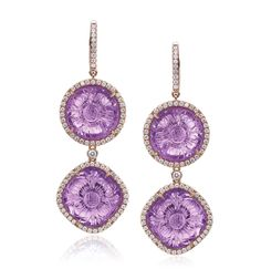 Rina Limor- Carved Amethyst Dangling Earrings -Double carved Amethyst and diamond dangling earrings doubles the allure  18K Rose Gold