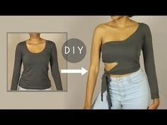 16 Interesting Shirt Cutting Ideas Cutting Big Shirts, Diy Cut Shirts, T Shirt Diy, Shirt Cutting, Cut Shirt Designs, Cut Up T Shirt, One Shoulder Shirt, Shirt Hacks, Altering Clothes