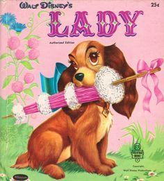 """Walt Disney's """"Lady,"""" pictures by Walt Disney Studios, adapted by Hubbard & Gene Wolfe, 1950s."""