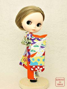 Japanese KIMONO dress,doll clothing Licca,Blythe,DAL Orange Furisode,obi #KIMONOnoMIRAI