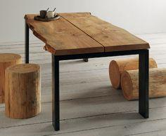 Tavolo allungabile in legno impiallacciato rovere e metallo Paul ...