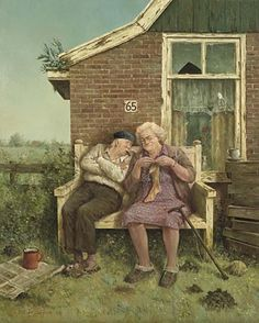 Old Folks, Mc Escher, Happy Together, Dutch Artists, Victorian Christmas, A Blessing, Christmas Cards, Canvas Art, Bunny