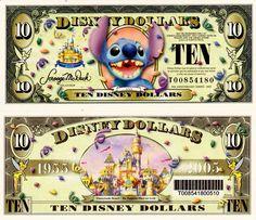 2005 $10 Stitch w/Barcode Disney Money, Disney Diy, Disney Crafts, Disney Frozen, Disney World Trip, Disney Vacations, Baymax, Printable Play Money, Free Printable
