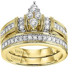 Southern Belle 5/8 Carat T.W. Diamond 14kt Yellow Gold Bridal Set