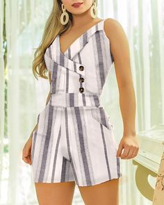 Sleeveless Striped Buttoned Design Romper – bodyconest printed romper,outfit romper,romper and tights,romper casual Trend Fashion, Summer Fashion Outfits, Fashion Dresses, Womens Fashion, Casual Outfits, Casual Jeans, Spring Outfits, Latest Fashion, Rompers Women