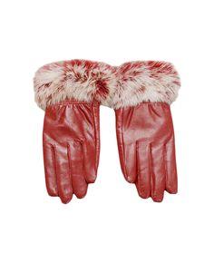 Rabbit Fur Cuffs Burgundy Leather Gloves
