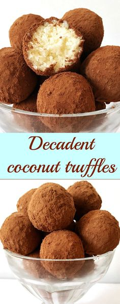 Decadent coconut truffles dusted in cocoa powder, the perfect present not only for your better half, but also for friends and family. No bake, easy recipe with just 4 ingredients.