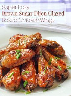 Baked Brown Sugar Dijon Chicken Wings - The flavour combination here is fantastically delicious and the baked method is as easy as it gets. Make plenty! Dijon Chicken, Baked Chicken Wings, Glazed Chicken, Chicken Wing Recipes, Chicken Wing Sauces, Recipe Chicken, Appetizer Recipes, Dinner Recipes, Appetizers