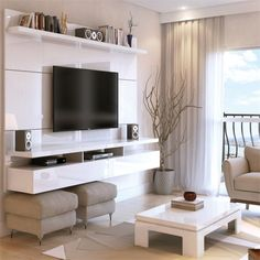 Manhattan Comfort City Floating Wall Theater Entertainment Center Maple Cream / Off White, TV Stands - Manhattan Comfort, Minimal & Modern - 1 Small Living, Home And Living, Floating Entertainment Center, Entertainment Centers, Tv Wall Decor, Floating Wall, Floating Tv Console, Floating Tv Stand, Floating Shelves
