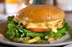 Famed pimento cheese burger at Rockaways Athletic Club in Columbia, SC.