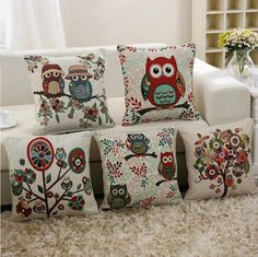 Owl Linen Cotton Throw Pillow Case Home Sofa Bed Car Decor