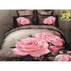Sivé posteľné obliečky s motívom ružovej ruže