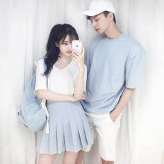 Korean Fashion – How to Dress up Korean Style – Designer Fashion Tips Mode Ulzzang, Korean Fashion Ulzzang, Korean Outfits, Ulzzang Girl, Asian Fashion, Korea Fashion, Matching Couple Outfits, Matching Couples, Cute Couples