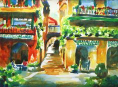Watercolor painting tutorial of a street in Bellagio, Italy by Jennifer Branch. Step by step art lesson on painting this gorgeous staircase!