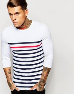 ASOS Extreme Muscle 3/4 Sleeve T-Shirt With Highlight Stripe