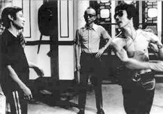 from left to right Wong Shun Leung (grandmaster Wing Chun), Raymond Chow (producer) and Bruce Lee (Legend)