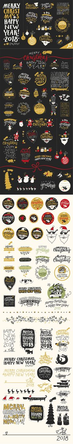 Christmas Calligraphic Badge Pack by Mammoth! on @creativemarket