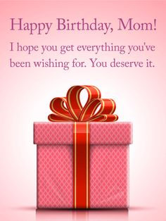 Pink Birthday Present Card For Mom
