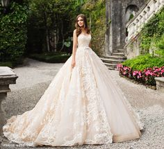 This graceful feminine gown from Milla Nova featuring French lace detailing and a dreamy silhouette is fit for a fairytale bride! » Praise Wedding Community