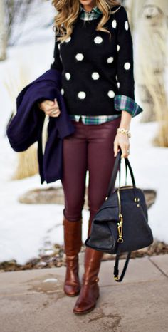 Love the colors all together, have no experience with waxed denim... would never think of mixing the plaid and polka dot but... // Waxed denim in burgundy are more versatile than you think! Wear them with a T-shirt and denim jacket or go preppy with a button-up shirt and polka dot sweater.