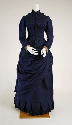 Dress  Date:     1880–85 Culture:     American Medium:     silk Dimensions:     [no dimensions available] Credit Line:     Gift of Mrs. James F. Lawrence, 1965 Accession Number:     C.I.65.2.1a, b