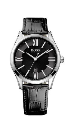 The secret to success: a sophisticated leather watch from Boss Black by Hugo Boss. Hugo Boss Watches, Gents Watches, Cool Watches, Watches For Men, Ben Sherman, Bulova, Montres Hugo Boss, Watch Blog, Stainless Steel Polish