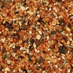 Rounded quartz grains (covered with rust-colored hematitic pigment) plus biogenic and lithic fragments from the Dubai Desert, United Arab Emirates. Biogenic grains clearly indicate that the sea can't be very far away. Sand Under Microscope, Sand Collection, Dubai Desert, Macro And Micro, Colored Sand, Grain Of Sand, Mineralogy, Desert Rose, World Of Color