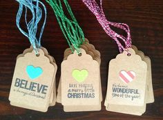 Very cute Christmas tags although I think I would use actual Christmas colors