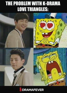 The problem with K-Drama love triangles: Source : dramafever Korean Drama Funny, Korean Drama Quotes, Funny Asian, Kdrama Memes, Funny Kpop Memes, Lee Won Geun, Sassy Go Go, Korean Shows, Drama Fever