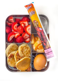 Make extra food when you have time for a nice breakfast on the weekend, and save the leftovers for lunches —think hard-boiled eggs, leftover pancakes, and leftover sausages.