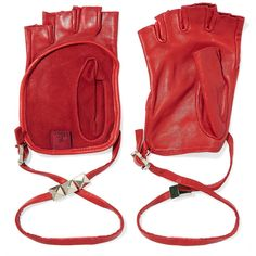 Valentino Studded leather fingerless gloves ($305) ❤ liked on Polyvore featuring accessories, gloves, red, real leather gloves, studded leather gloves, red gloves, studded fingerless leather gloves and valentino gloves