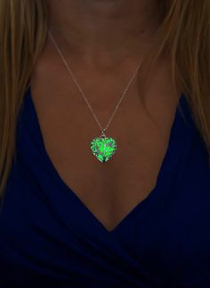 Small Green Glowing Necklace  Green Glowing Heart  by EpicGlows