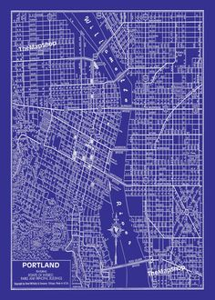 Who doesn't love a nice blue & white #PDX street map?