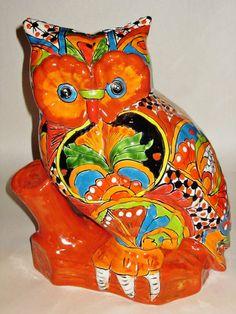 Mexican Pottery Talavera Owl Figurine