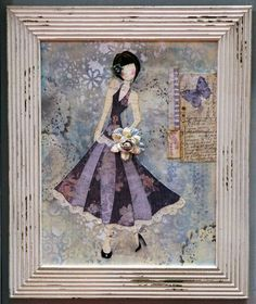 Mixed media girls created by scrapbook paper and other mediums